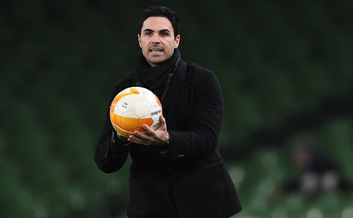 Arsenal manager Mikel Arteta during the UEFA Europa League Group B stage match between Dundalk FC and Arsenal FC at Aviva Stadium on December 10, 2020 in Dublin, Ireland. (Photo by Stuart MacFarlane/Arsenal FC via Getty Images)