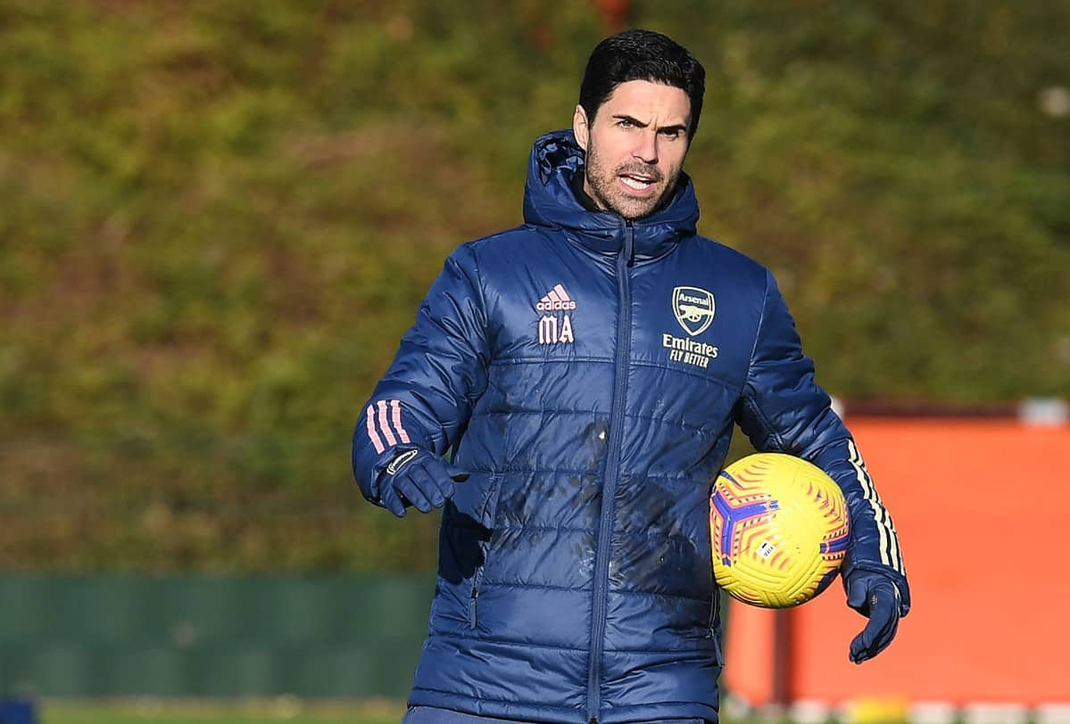 Arsenal manager Mikel Arteta during a training session at London Colney on December 15, 2020 in St Albans, England. (Photo by Stuart MacFarlane/Arsenal FC via Getty Images)