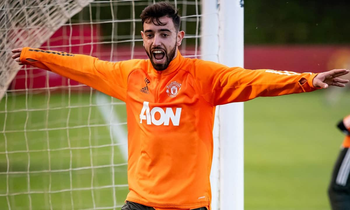 Bruno Fernandes of Manchester United in action during a first team training session at Aon Training Complex on December 15, 2020 in Manchester, England. (Photo by Ash Donelon/Manchester United via Getty Images)