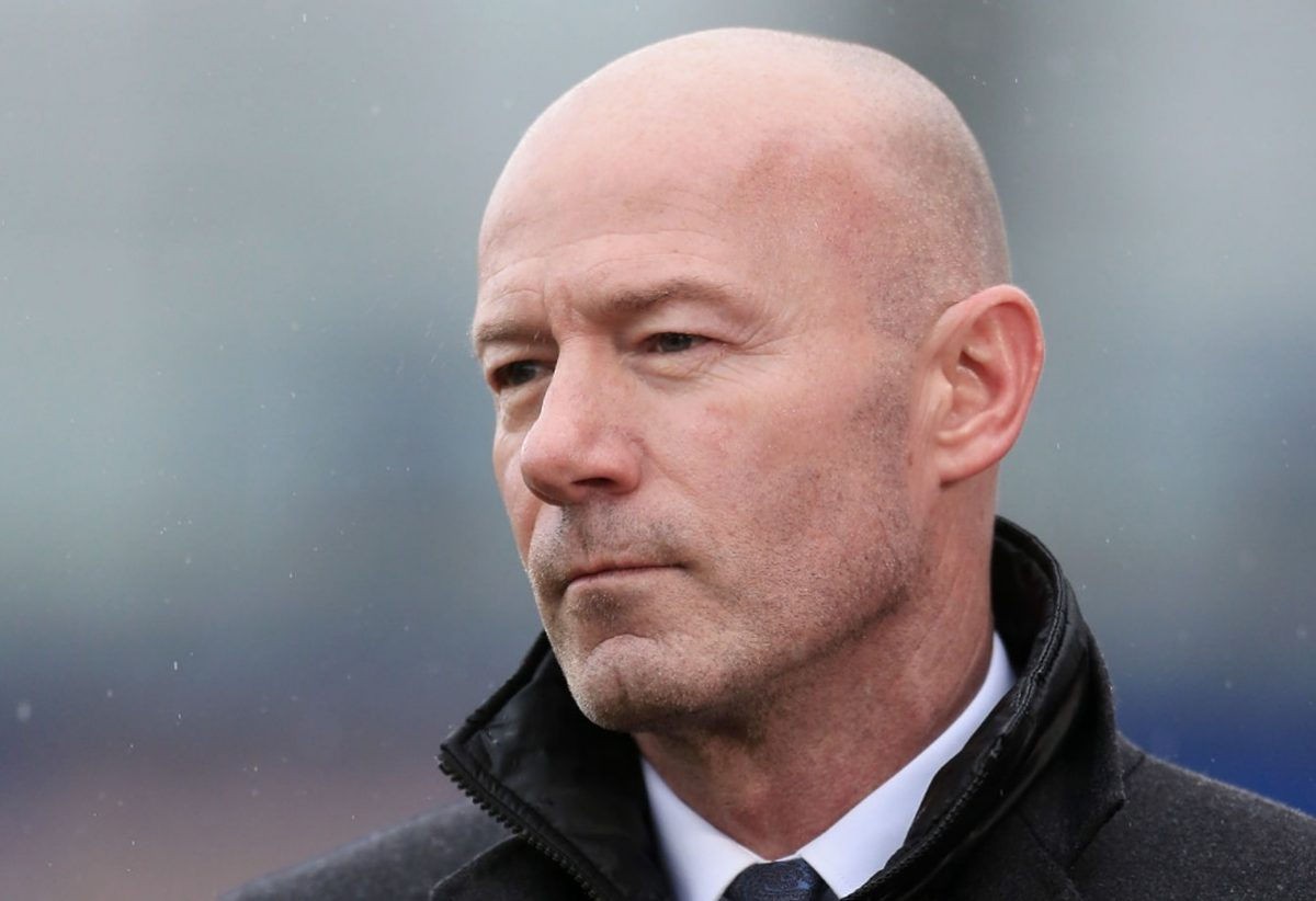 BBC television pundit Alan Shearer holds the microphone during the FA Cup Fourth Round match between Shrewsbury Town and Liverpool FC at New Meadow on January 26, 2020 in Shrewsbury, England. (Photo by Simon Stacpoole/Offside/Offside via Getty Images)