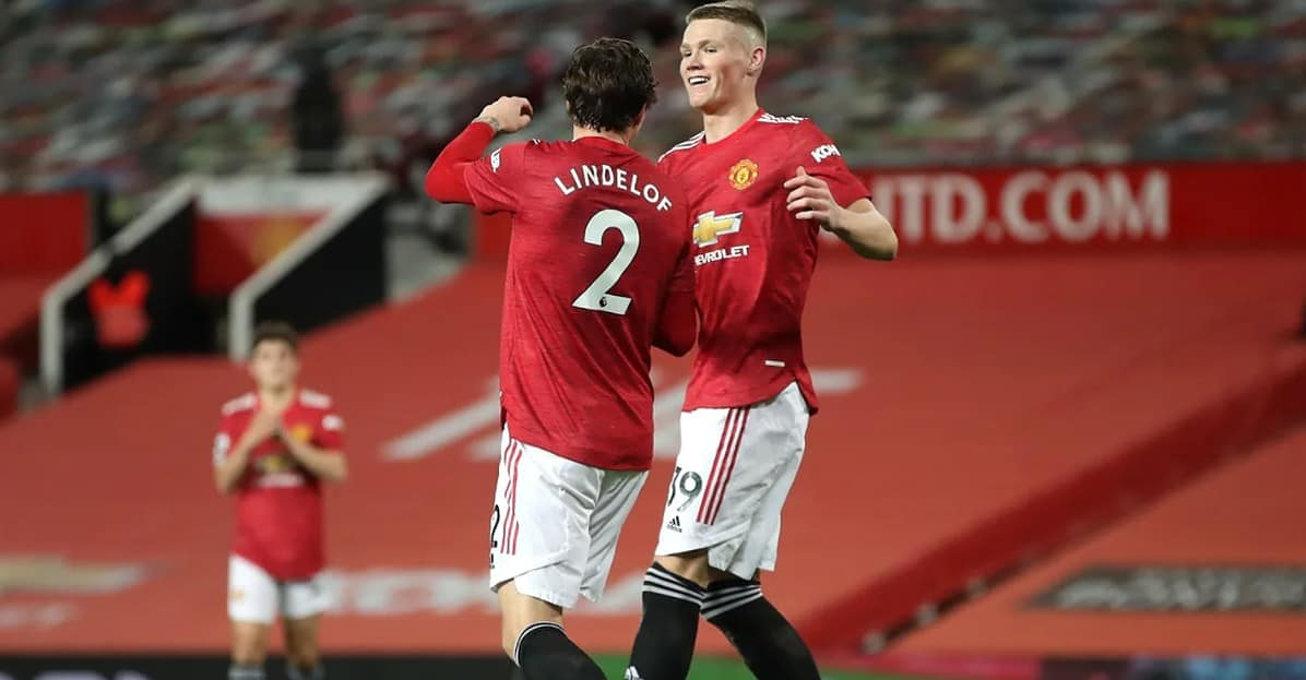 Goalscorers Victor Lindelof and Scott McTominay, who netted two early on, are all smiles for Manchester United