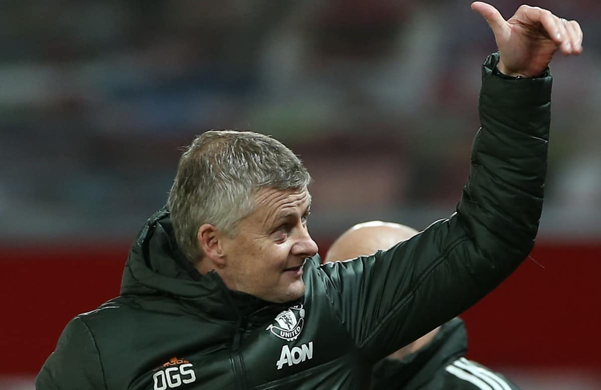 Manager Ole Gunnar Solskjaer of Manchester United celebrates after the Premier League match between Manchester United and Leeds United at Old Trafford on December 20, 2020 in Manchester, England. (Photo by Matthew Peters/Manchester United via Getty Images)