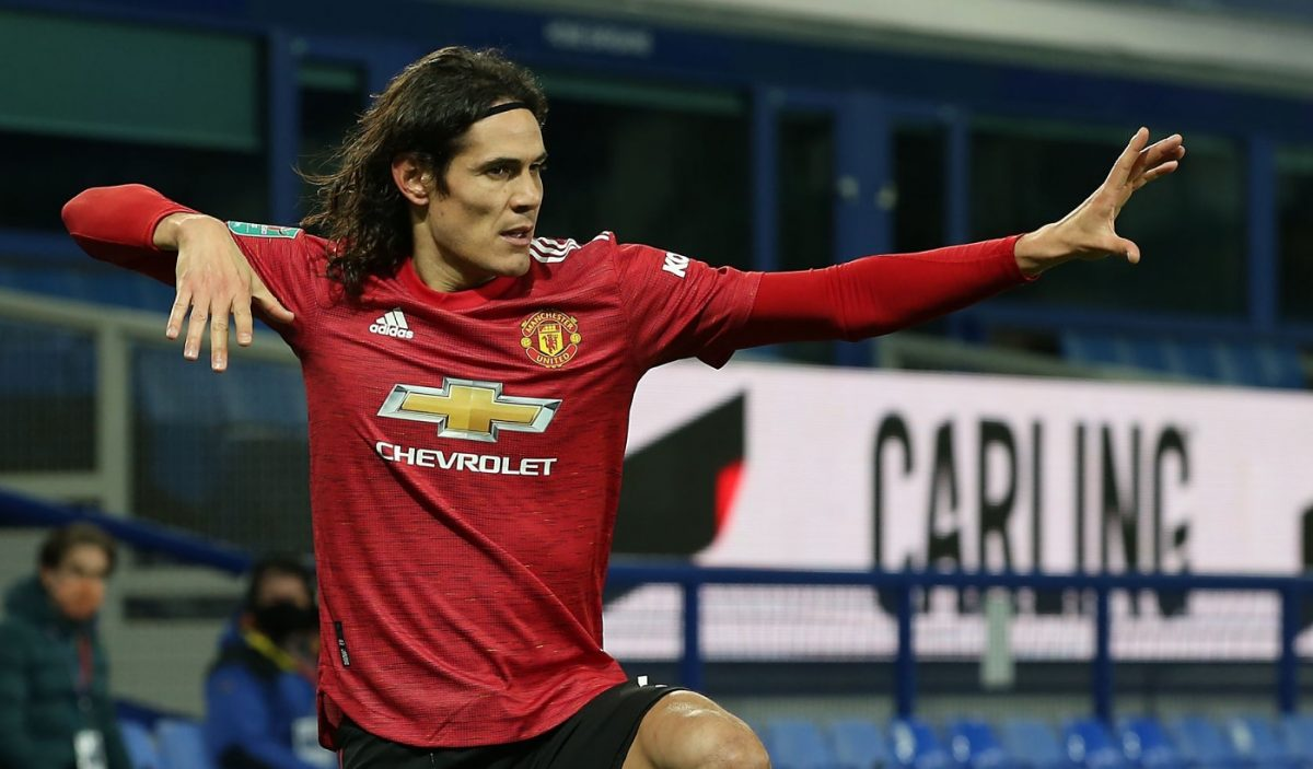 Edinson Cavani of Manchester United celebrates scoring their first goal during the Carabao Cup Quarter Final match between Everton and Manchester United at Goodison Park on December 23, 2020 in Liverpool, England. (Photo by Matthew Peters/Manchester United via Getty Images)