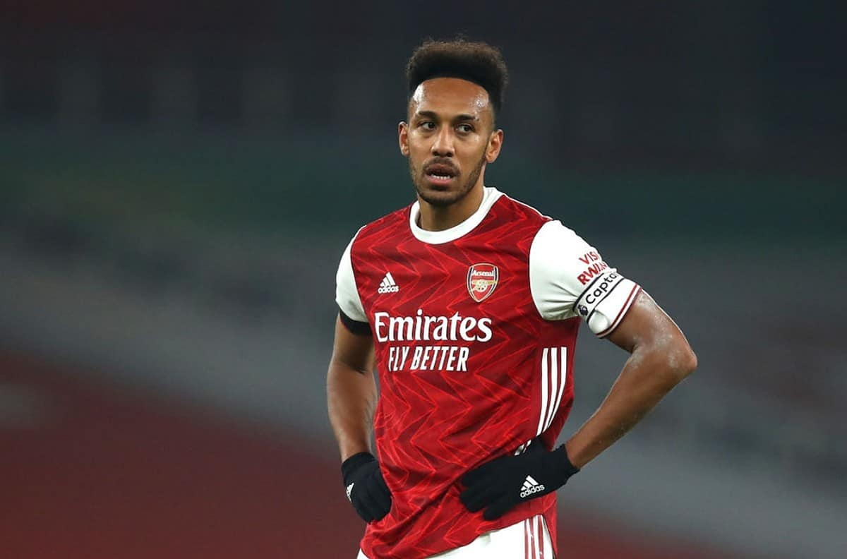 Pierre-Emerick Aubameyang of Arsenal looks on during the Premier League match between Arsenal and Wolverhampton Wanderers at Emirates Stadium on November 29, 2020 in London, England. Sporting stadiums around the UK remain under strict restrictions due to the Coronavirus Pandemic as Government social distancing laws prohibit fans inside venues resulting in games being played behind closed doors. (Photo by Julian Finney/Getty Images)