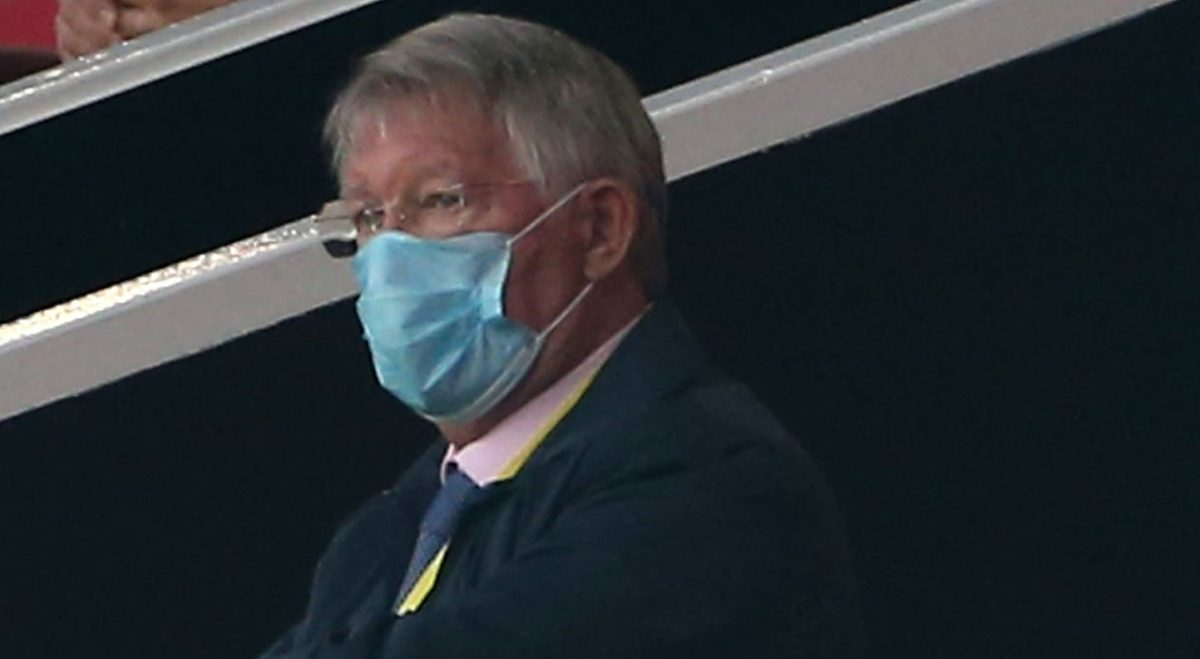 Sir Alex Ferguson of Manchester United watches from the stand during the Premier League match between Manchester United and Southampton FC at Old Trafford on July 13, 2020 in Manchester, England. Football Stadiums around Europe remain empty due to the Coronavirus Pandemic as Government social distancing laws prohibit fans inside venues resulting in all fixtures being played behind closed doors. (Photo by Matthew Peters/Manchester United via Getty Images)