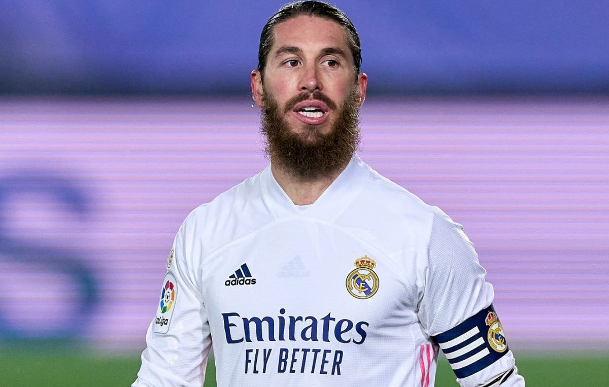 Sergio Ramos of Real Madrid looks on during the La Liga Santander match between Real Madrid and Granada CF at Estadio Alfredo Di Stefano on December 23, 2020 in Madrid, Spain. (Photo by Diego Souto/Quality Sport Images/Getty Images)