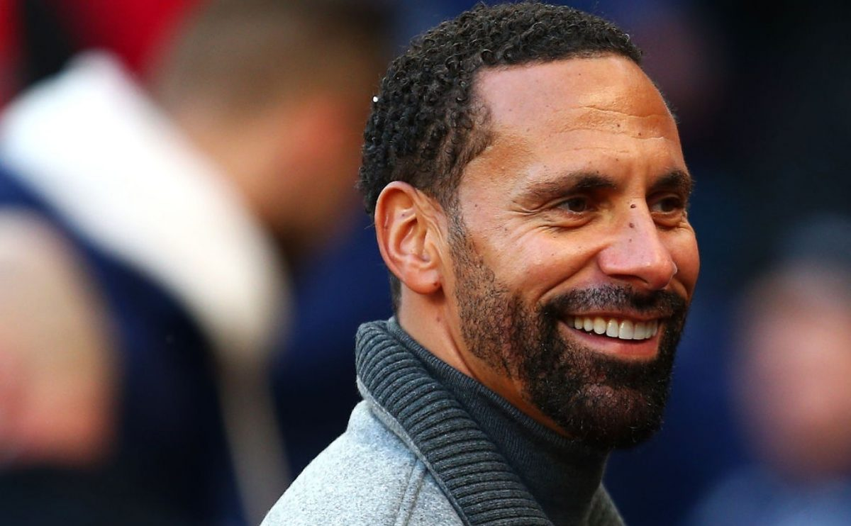 Rio Ferdinand looks on prior to the Premier League match between West Ham United and Everton FC at London Stadium on January 18, 2020 in London, United Kingdom. (Photo by Charlie Crowhurst/Getty Images)