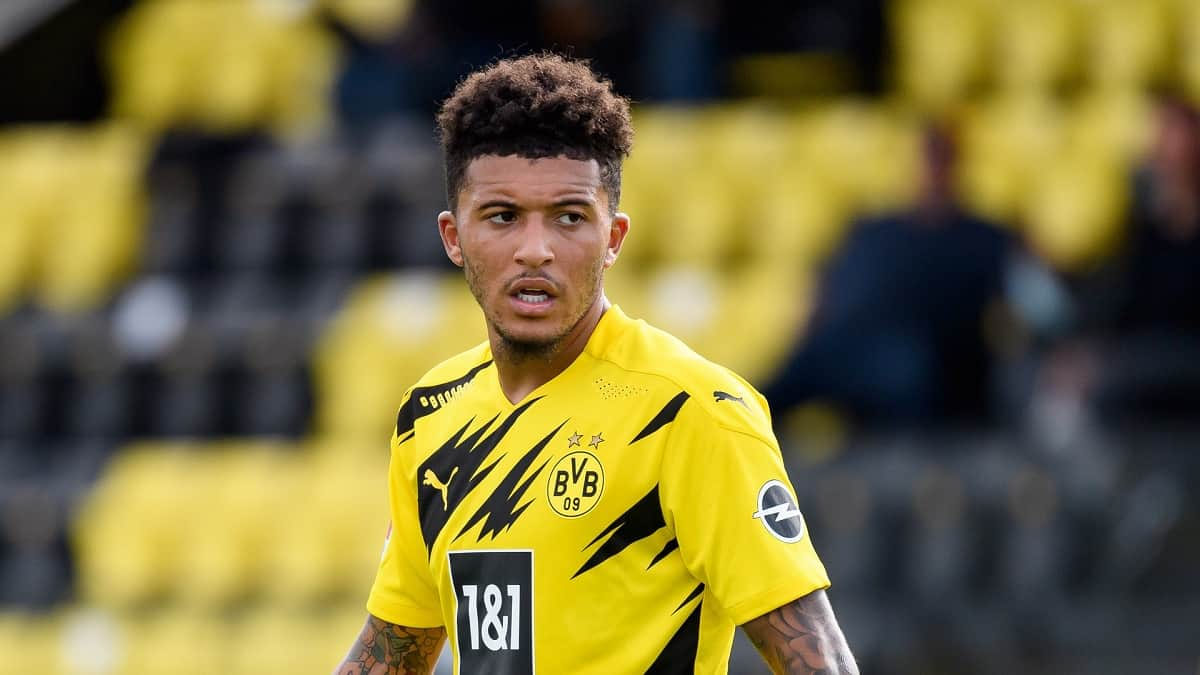 Jadon Sancho of Borussia Dortmund looks on during the pre-season friendly match between Borussia Dortmund and SC Paderborn on August 28, 2020 in Dortmund, Germany