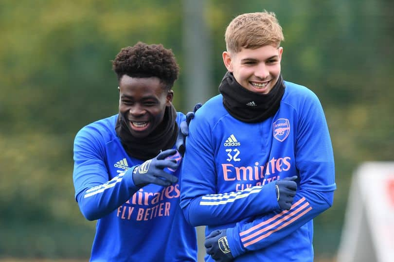 Bukayo Saka and Emile Smith Rowe in an Arsenal training session