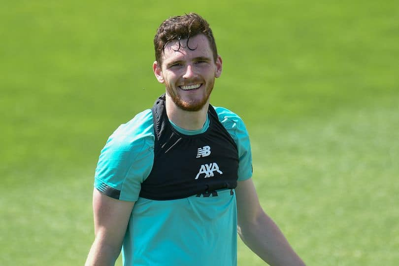 Andy Robertson during Liverpool training