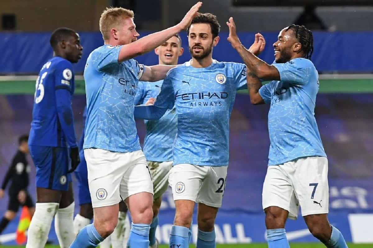 Manchester City celebrating a win over Chelsea