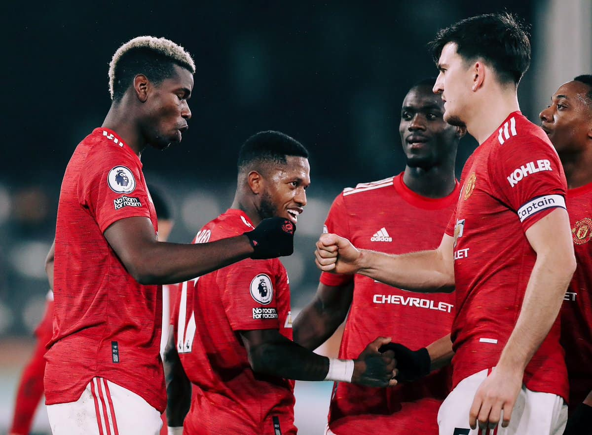 Paul Pogba celebrating a goal during Fulham 1-2 Manchester United