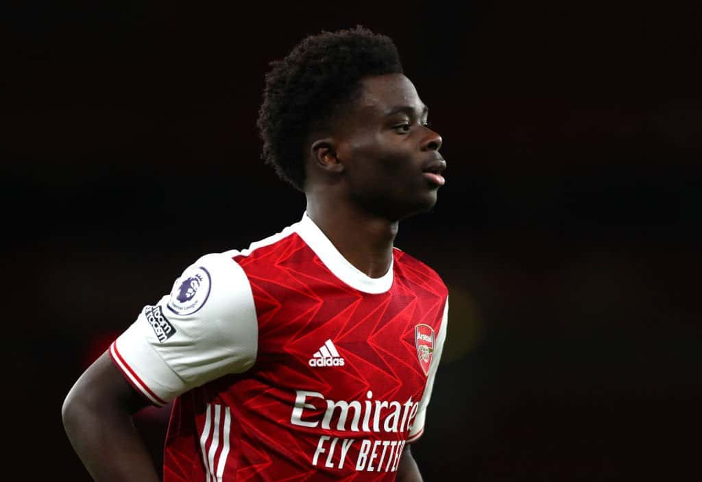Bukayo Saka in action for Arsenal