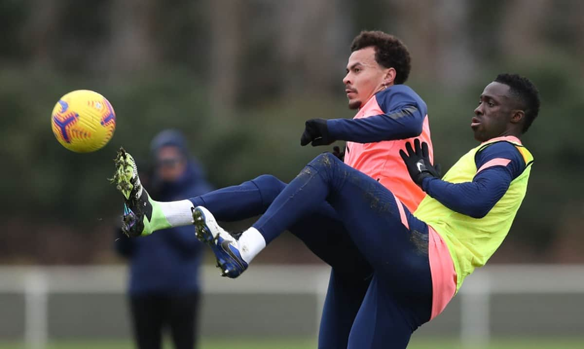 Dele Alli and Davinson Sanchez of Tottenham Hotspur during the Tottenham Hotspur training session at Tottenham Hotspur Training Centre on December 18, 2020 in Enfield, England. (Photo by Tottenham Hotspur FC/Tottenham Hotspur FC via Getty Images)