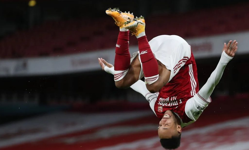 Pierre-Emerick Aubameyang celebrates spectacularly after putting Arsenal ahead early in the second half
