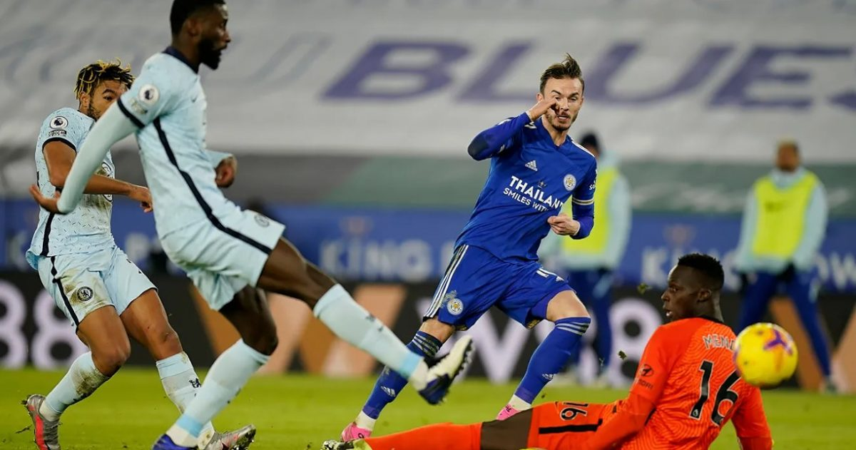 James Maddison tucks in the second goal for Leicester soon before half-time
