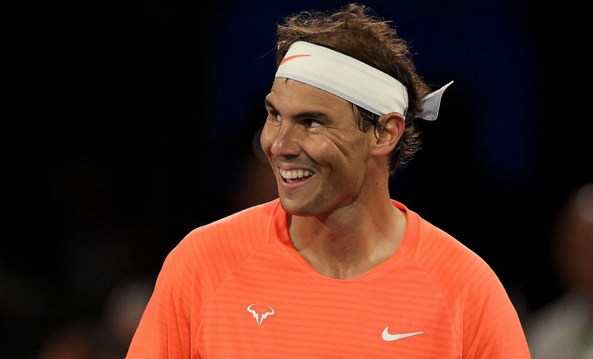 Rafael Nadal of Spain reacts in his match against Dominic Thiem of Austria during the 'A Day at the Drive' exhibition tournament at Memorial Drive on January 29, 2021 in Adelaide, Australia. (Photo by Daniel Kalisz/Getty Images)