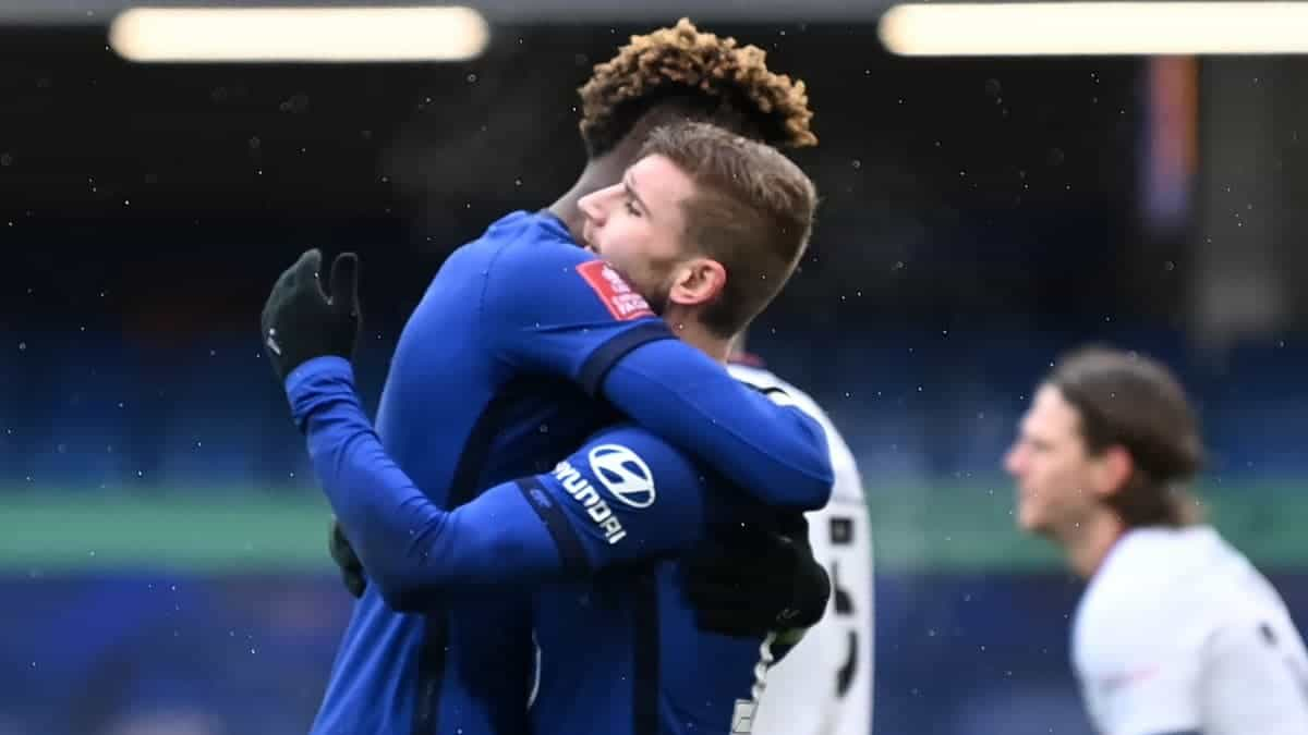 Tammy Abraham and Timo Werner celebrating against Luton Town