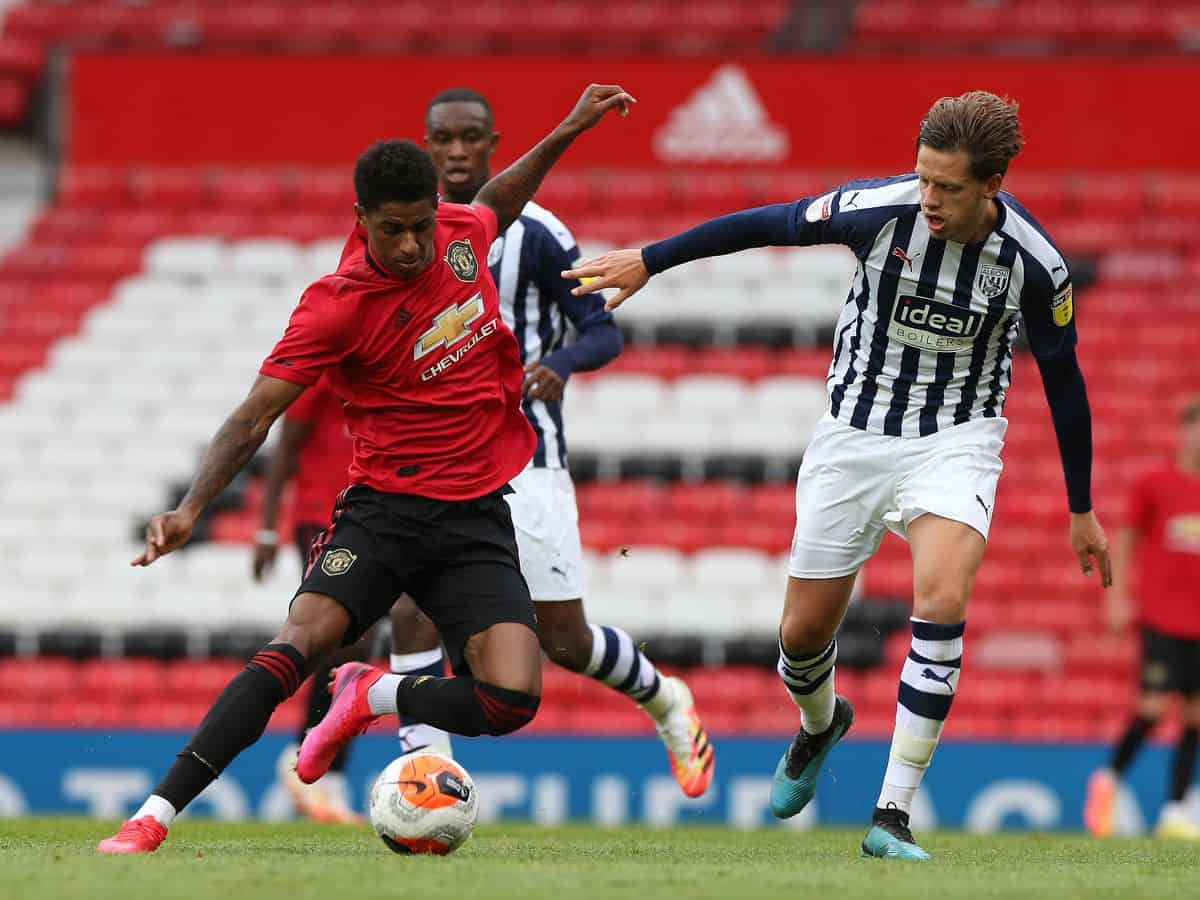 Marcus Rashford in action against West Brom