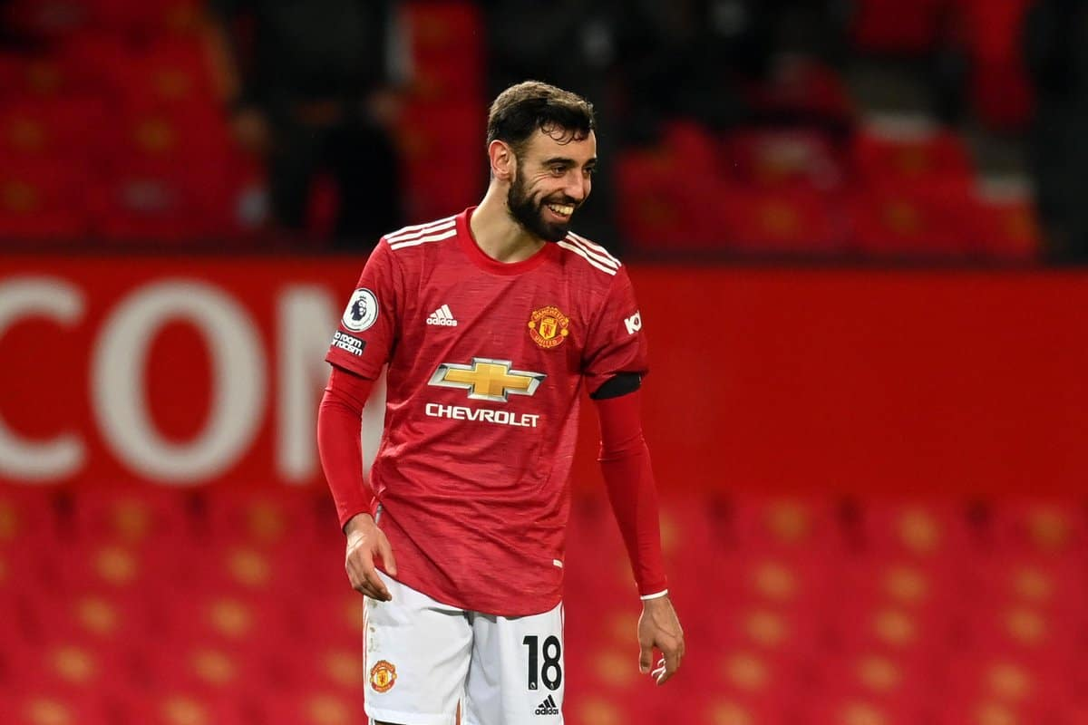 Bruno Fernandes in action for Manchester Untied against Everton