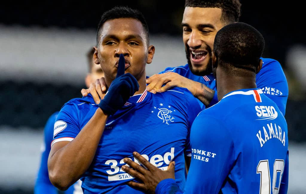 Alfredo Morelos celebrates after scoring to make it 2-0 Rangers during a Scottish Premiership match between St Mirren and Rangers at the SMISA Stadium, on December 30, 2020, in Paisley, Scotland. (Photo by Alan Harvey/SNS Group via Getty Images)