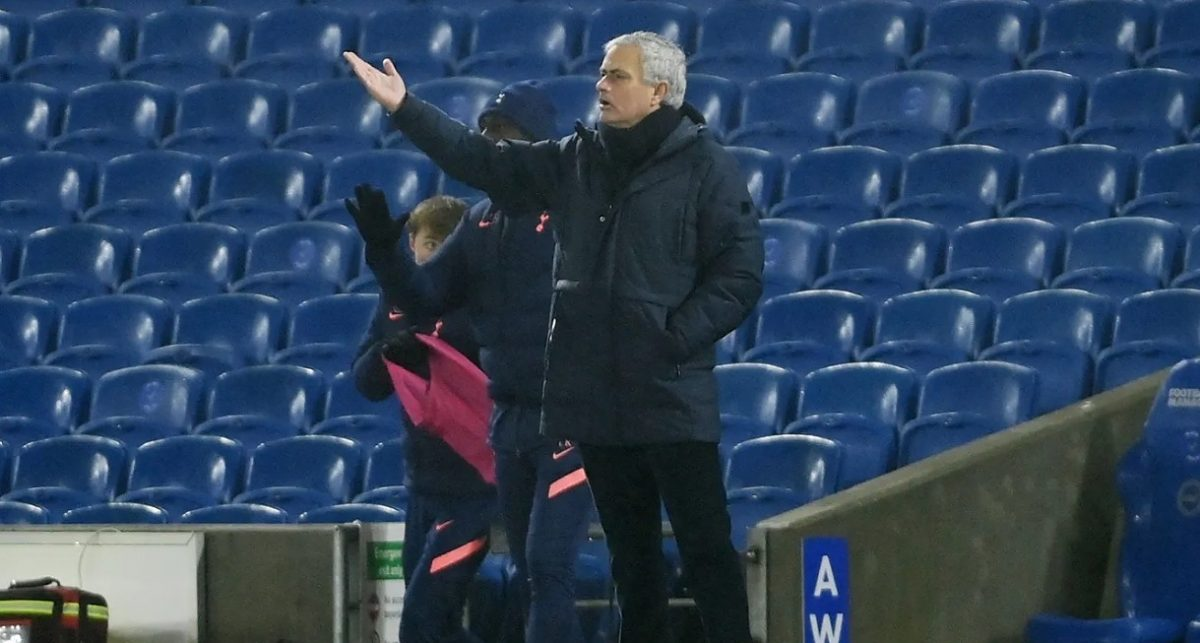 Jose Mourinho puts his point across to his Spurs players as they look to find an equaliser