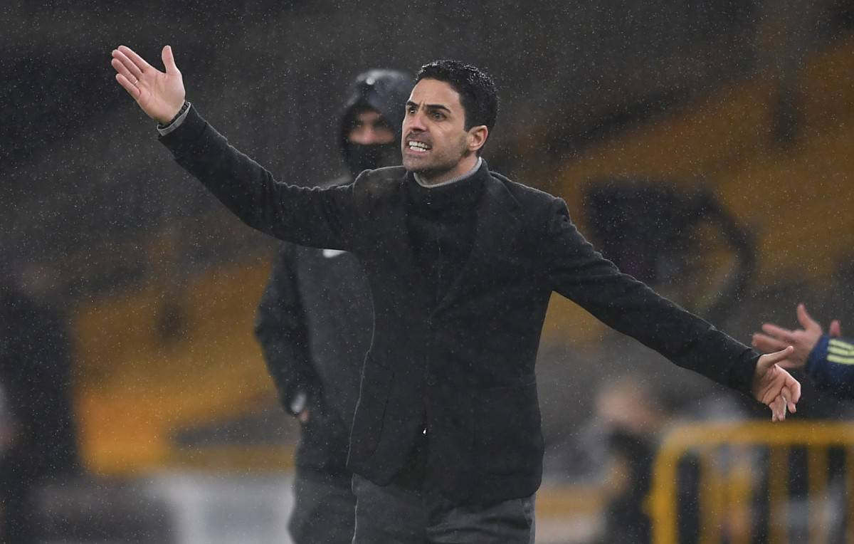 Arsenal Manager Mikel Arteta during the Premier League match between Wolverhampton Wanderers and Arsenal at Molineux on February 02, 2021 in Wolverhampton, England. (Photo by David Price/Arsenal FC via Getty Images