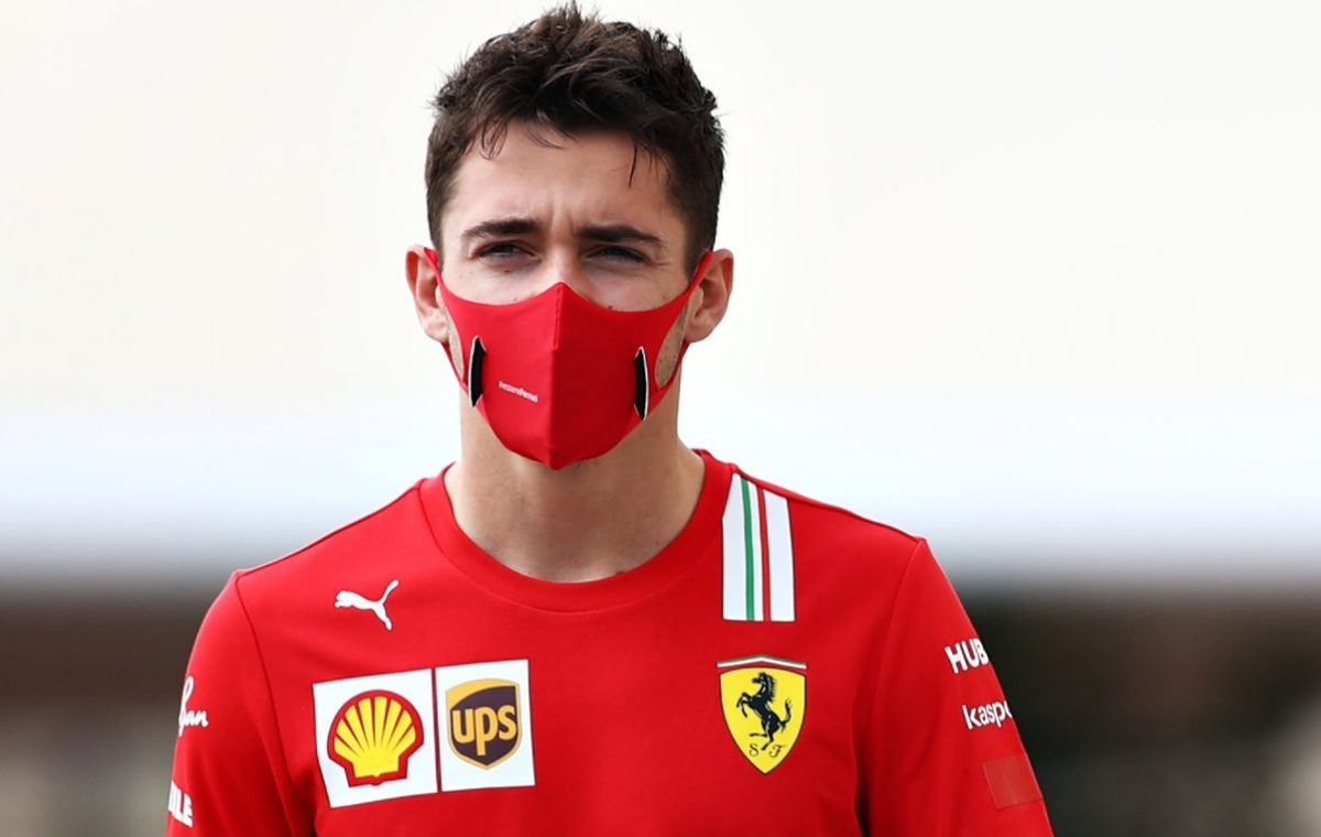 Charles Leclerc of Monaco and Ferrari walks in the Paddock before final practice ahead of the F1 Grand Prix of Abu Dhabi at Yas Marina Circuit on December 12, 2020 in Abu Dhabi, United Arab Emirates. (Photo by Mark Thompson/Getty Images)