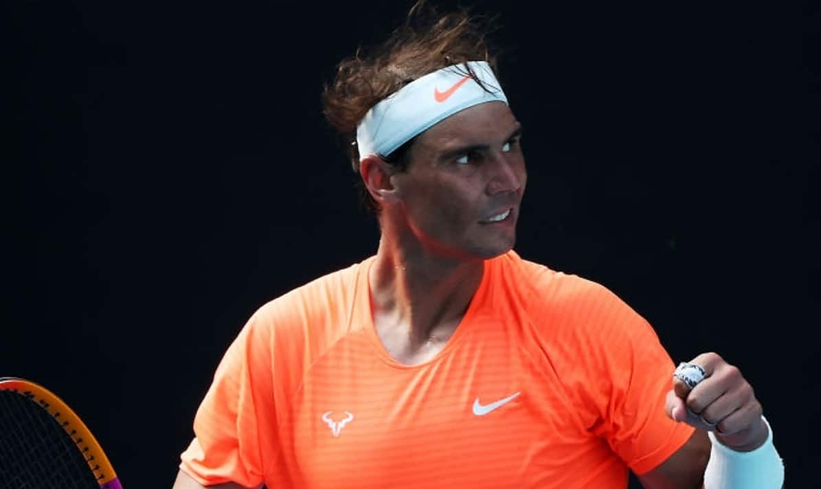 Rafael Nadal of Spain celebrates winning match point in his Men's Singles fourth round match against Fabio Fognini of Italy during day eight of the 2021 Australian Open at Melbourne Park on February 15, 2021 in Melbourne, Australia. (Photo by Mark Metcalfe/Getty Images)
