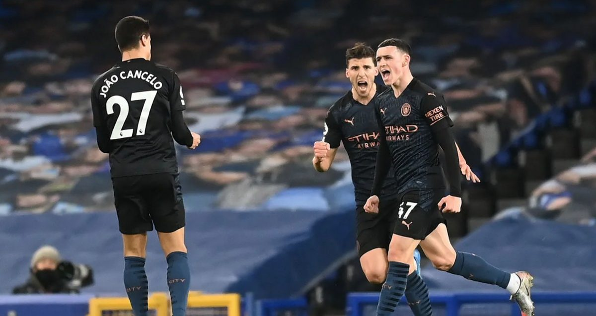 Phil Foden celebrates after breaking the deadlock at Goodison Park