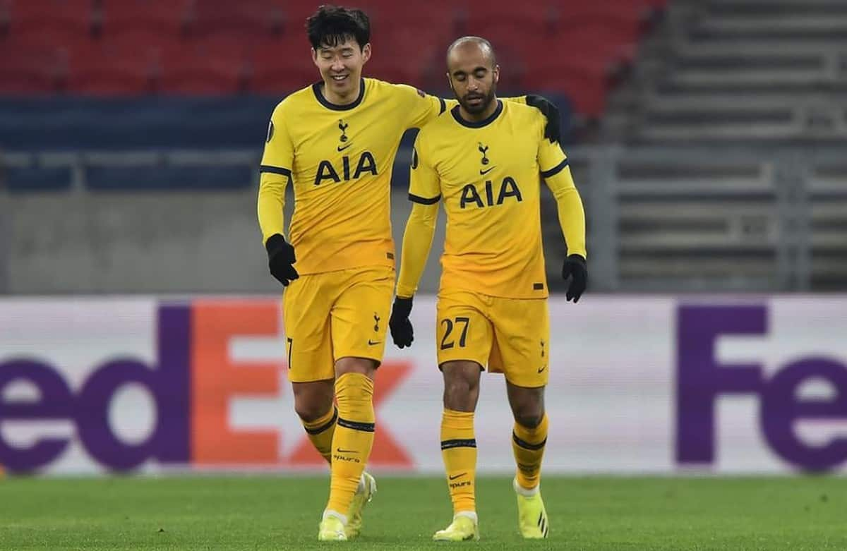 Son Heung Min and Lucas Moura celebrate goal for Tottenham