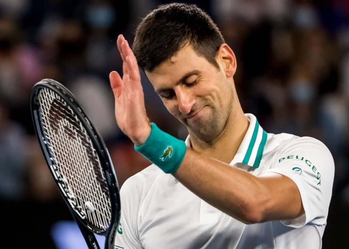 Novak Djokovic of Serbia acknowledges his opponent after losing a game during the Men's Singles Final of the 2021 Australian Open on February 21 2021, at Melbourne Park in Melbourne, Australia. (Photo by Jason Heidrich/Icon Sportswire via Getty Images)