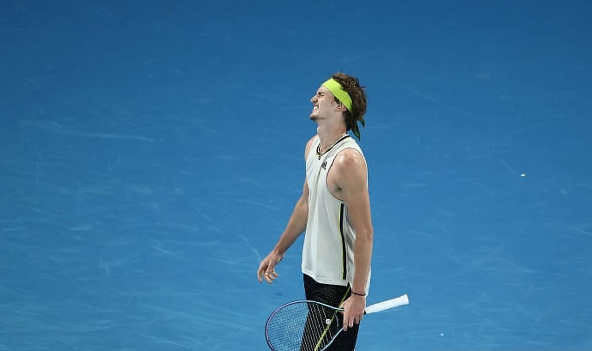 Alexander Zverev of Germany reacts in his Men's Singles Quarterfinals match against Novak Djokovic of Serbia during day nine of the 2021 Australian Open at Melbourne Park on February 16, 2021 in Melbourne, Australia. (Photo by Cameron Spencer/Getty Images)