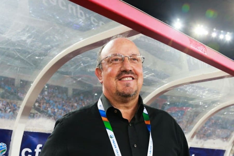 Head coach Rafa Benitez of Dalian Yifang looks on during the 2019 Chinese Football Association (CFA) Cup semi-final match between Dalian Yifang and Shanghai Shenhua at Dalian Sports Center Stadium on August 19, 2019 in Dalian, Liaoning Province of China. (Photo by Visual China Group via Getty Images/Visual China Group via Getty Images via Getty Images)