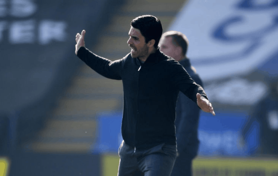 Arsenal manager Mikel Arteta during the Premier League match between Leicester City and Arsenal at The King Power Stadium on February 28, 2021 in Leicester, England. Sporting stadiums around the UK remain under strict restrictions due to the Coronavirus Pandemic as Government social distancing laws prohibit fans inside venues resulting in games being played behind closed doors. (Photo by Stuart MacFarlane/Arsenal FC via Getty Images)