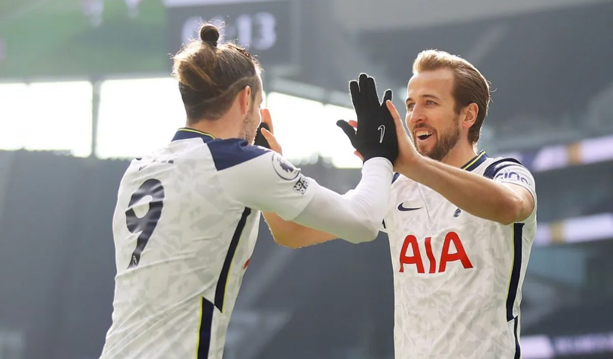 Gareth Bale and Harry Kane link up for Spurs' second goal on 14 minutes