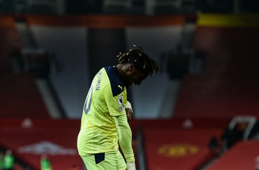 Allan Saint-Maximin of Newcastle United FC (10) celebrates after he scores the equalising goal during the Premier League match between Manchester United and Newcastle United at Old Trafford on February 21, 2021 in Manchester, England. Sporting stadiums around the UK remain under strict restrictions due to the Coronavirus Pandemic as Government social distancing laws prohibit fans inside venues resulting in games being played behind closed doors. (Photo by Serena Taylor/Newcastle United via Getty Images)