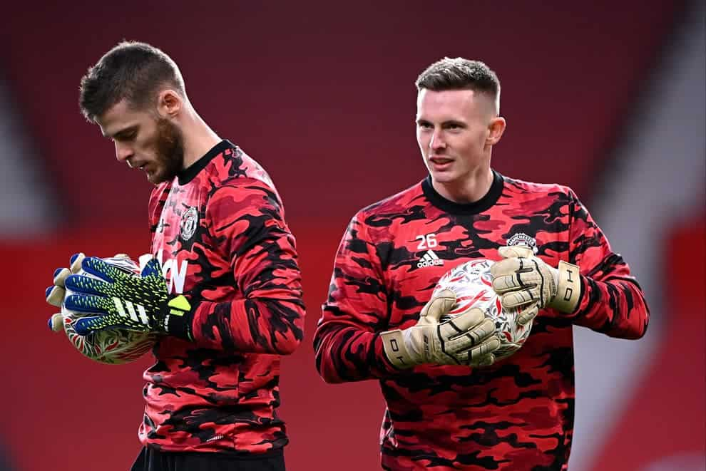 David de Gea and Dean Henderson during Manchester United training