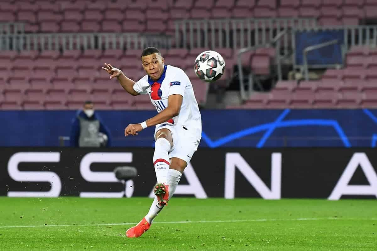 Kylian Mbappe scoring a hat-trick against Barcelona in the Champions League