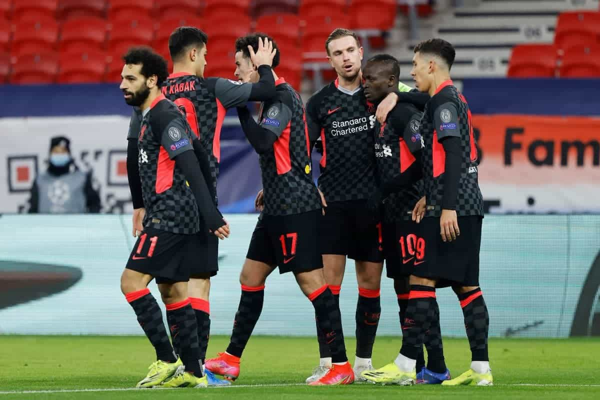 Liverpool celebrating a 2-0 win over RB Leipzig in the Champions League