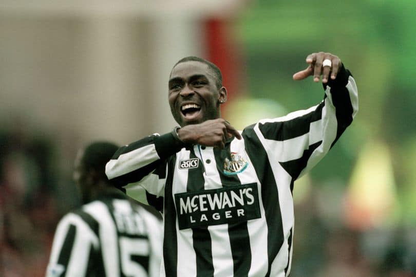 Andy Cole celebrates after Newcastle United's win against Arsenal at Highbury on September 18, 1994