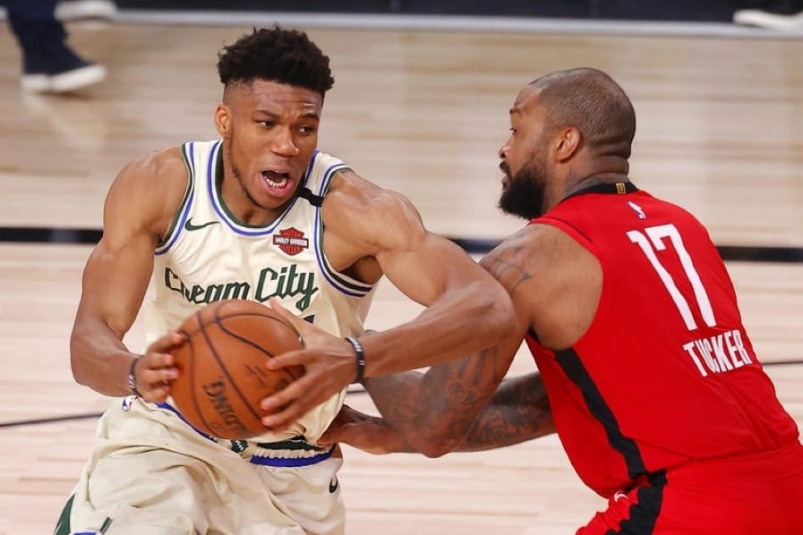 Giannis Antetokounmpo had hilarious first encounter with P.J. Tucker after trade