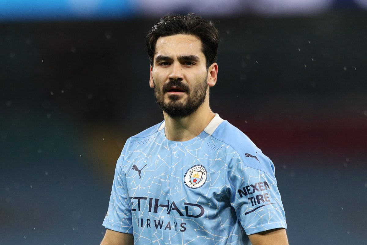 Ilkay Gundogan of Manchester City looks on during the Premier League match between Manchester City and Newcastle United at Etihad Stadium on December 26, 2020 in Manchester, England. The match will be played without fans, behind closed doors as a Covid-19 precaution.
