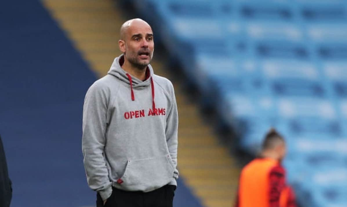 Pep Guardiola, Manager of Manchester City looks on during the Premier League match between Manchester City and Manchester United at Etihad Stadium on March 07, 2021 in Manchester, England. Sporting stadiums around the UK remain under strict restrictions due to the Coronavirus Pandemic as Government social distancing laws prohibit fans inside venues resulting in games being played behind closed doors. (Photo by Victoria Haydn/Manchester City FC via Getty Images)