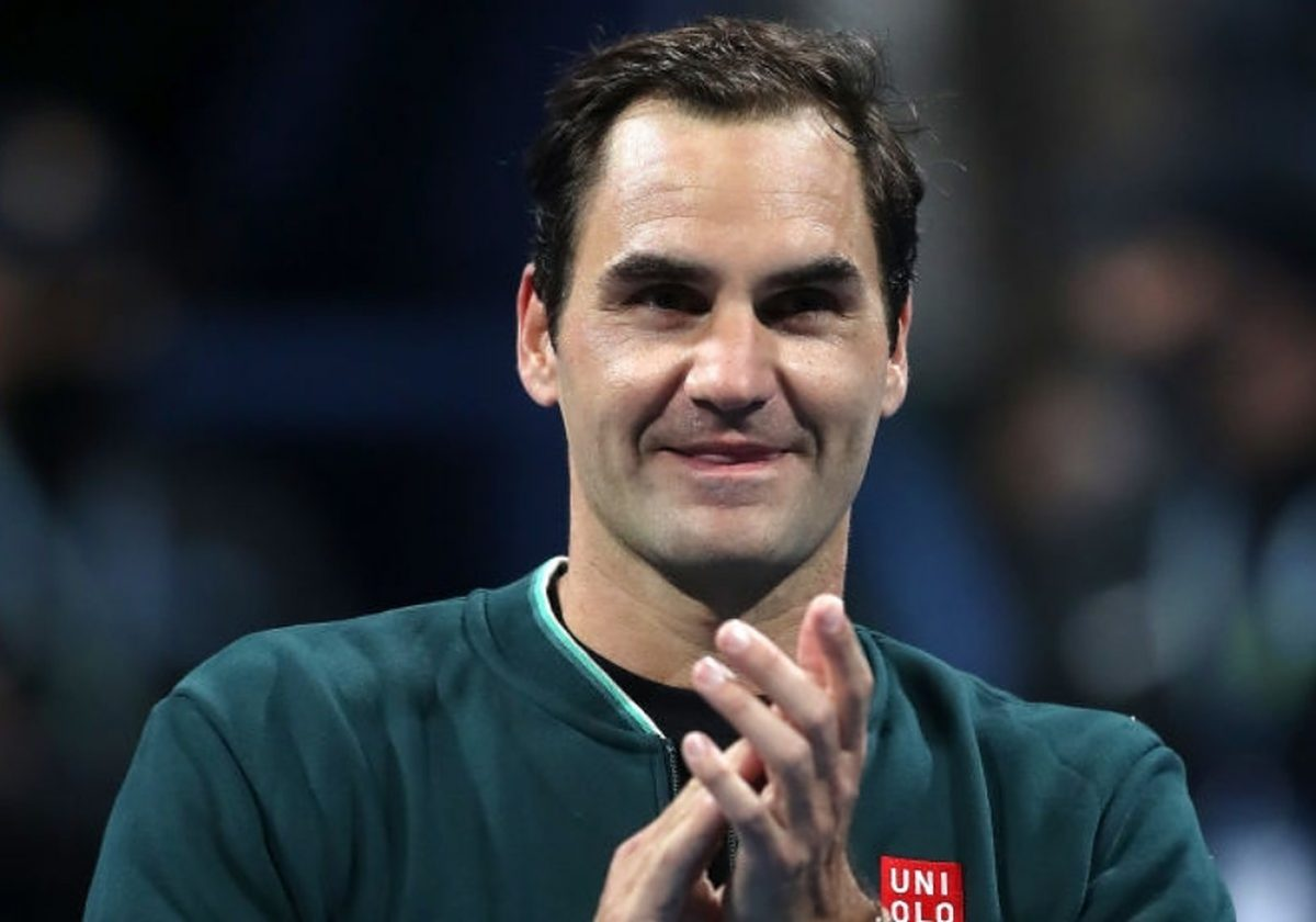 Roger Federer of Switzerland celebrates winning his match against Dan Evans of Great Britain on Day 3 of the Qatar ExxonMobil Open at Khalifa International Tennis and Squash Complex on March 10, 2021 in Doha, Qatar. (Photo by Mohamed Farag/Getty Images)