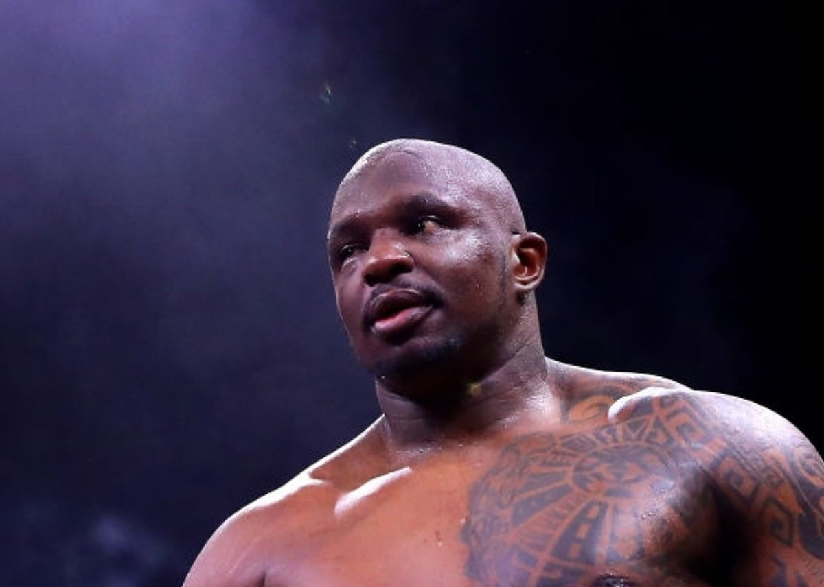 Dillian Whyte reacts to victory over Mariusz Wach after the Heavyweight fight between Dillian Whyte and Mariusz Wach during the Matchroom Boxing 'Clash on the Dunes' show at the Diriyah Season on December 07, 2019 in Diriyah, Saudi Arabia (Photo by Richard Heathcote/Getty Images)
