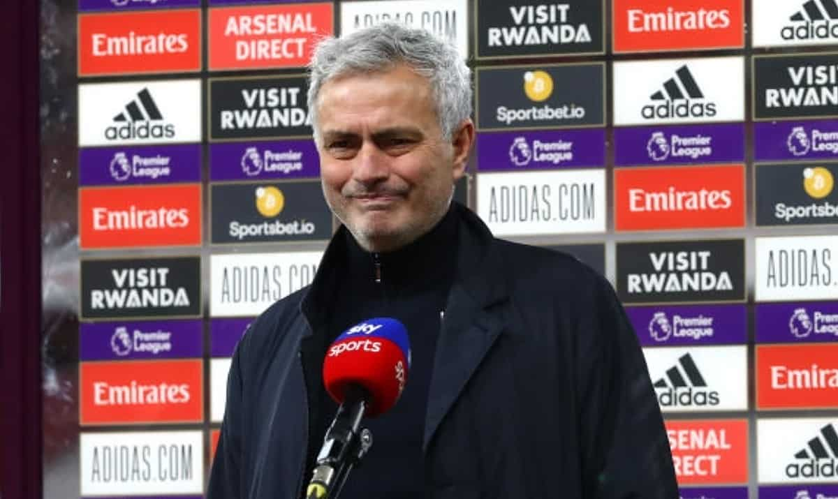 Jose Mourinho, Manager of Tottenham Hotspur reacts during a tv interview following the Premier League match between Arsenal and Tottenham Hotspur at Emirates Stadium on March 14, 2021 in London, England. Sporting stadiums around the UK remain under strict restrictions due to the Coronavirus Pandemic as Government social distancing laws prohibit fans inside venues resulting in games being played behind closed doors. (Photo by Tottenham Hotspur FC/Tottenham Hotspur FC via Getty Images)