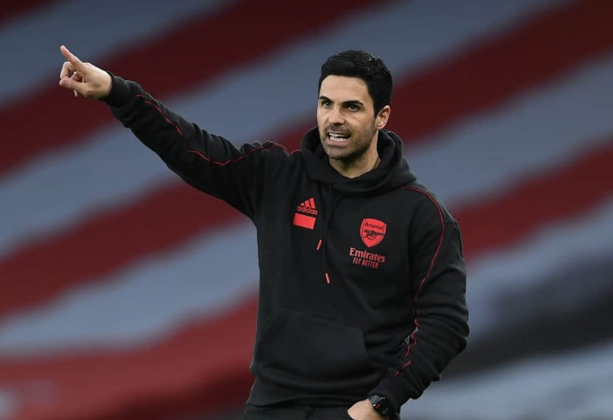 Arsenal manager Mikel Arteta during the Premier League match between Arsenal and Tottenham Hotspur at Emirates Stadium on March 14, 2021 in London, England. Sporting stadiums around the UK remain under strict restrictions due to the Coronavirus Pandemic as Government social distancing laws prohibit fans inside venues resulting in games being played behind closed doors. (Photo by Stuart MacFarlane/Arsenal FC via Getty Images)