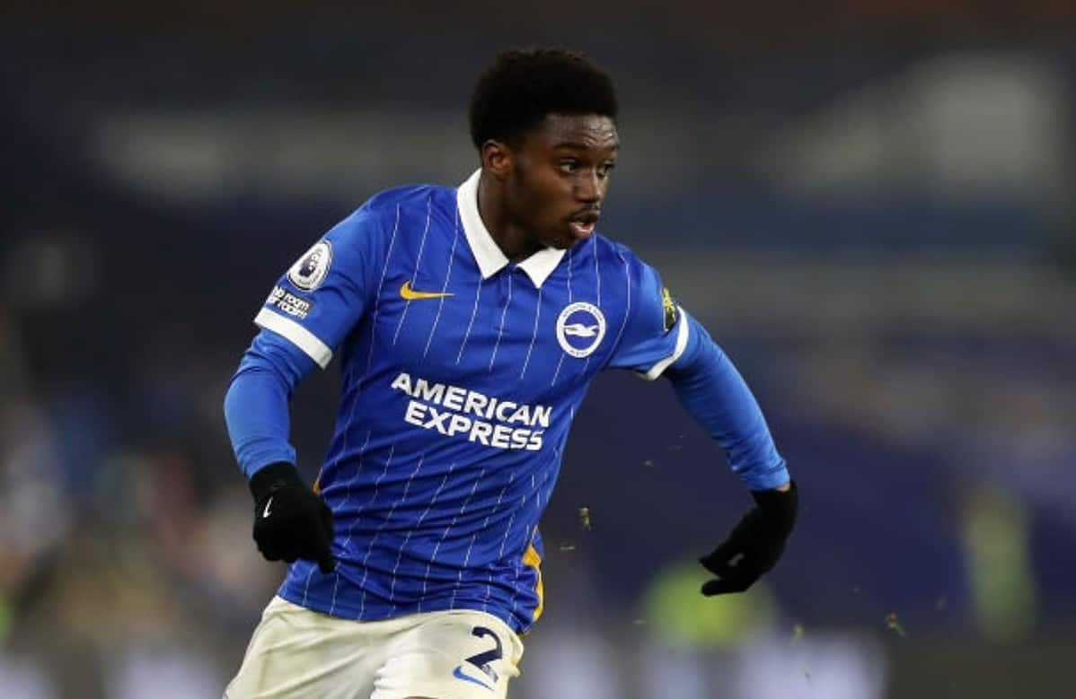 Tariq Lamptey of Brighton and Hove Albion in action during the Premier League match between Brighton & Hove Albion and Southampton at American Express Community Stadium on December 07, 2020 in Brighton, England. (Photo by Naomi Baker/Getty Images)