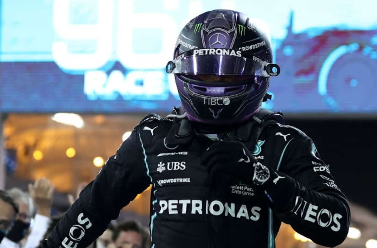 Race winner Lewis Hamilton of Great Britain and Mercedes GP celebrates in parc ferme during the F1 Grand Prix of Bahrain at Bahrain International Circuit on March 28, 2021 in Bahrain, Bahrain. (Photo by Lars Baron/Getty Images)